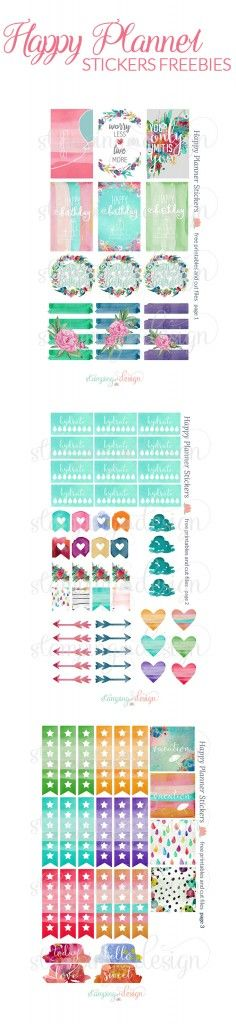 Happy Planner Stickers Freebies - Printable and Cut Files #planner #stickers…