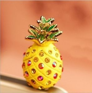 Fruit-Pineapple-Czech-Crystal-Cell-Phone-Headset-Dust-Plug-for-Iphone-Samsung