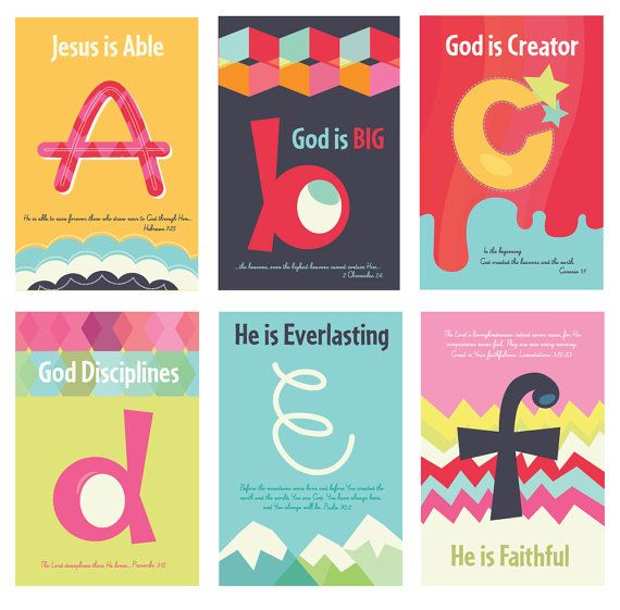 Such beautiful work!  This will decorate the walls at PRC Children's Ministry.   Check out the artwork on Carsonology on Etsy.   Christian Kids Scripture Art Prints, ABC's of God, 5x7 and 11x17 Posters