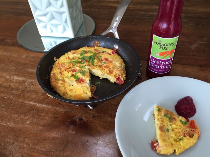 The Foraging Fox Beetroot Ketchup with tomato & feta omelette