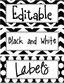black and white classroom decorations | Editable Black and White Labels - The Enlightened Elephant ...