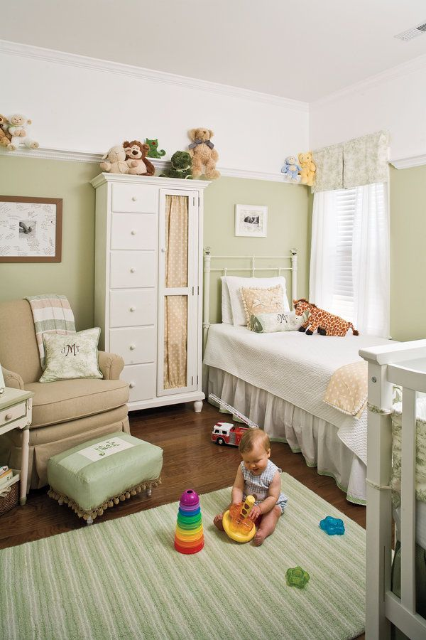 "With soft furnishings and nostalgic accents, the couple fashioned a cozy sleeping and playing space for baby boy Jack.Sweet Retreat: ""Overall, we were going for a casual cottage look. We wanted somewhere any tiny person would feel safe, comfortable, and calm,"" Catherine says.Color Secret: Sage green is the new yellow in gender-neutral nurseries.     Twin Bed: Claudia Bed in Distressed Antique White from Pottery Barn"