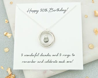 Regalo de cumpleaños de 50, 50 regalo de cumpleaños para ella, 50 regalo de cumpleaños para mamá, 50 cumpleaños joyería, collar de piedra natal de cumpleaños 50