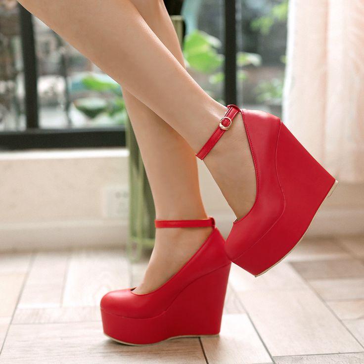 Cunhas plataforma de salto alto sapatos de noiva vermelho sapatos em Bombas das mulheres de Sapatos no AliExpress.com   Alibaba Group