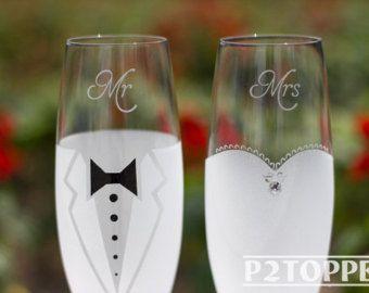 Bruid en bruidegom Champagne glazen, glazen van de bruiloft, bruiloft Champagne fluiten, bruiloft Champagne glazen, bruiloft…