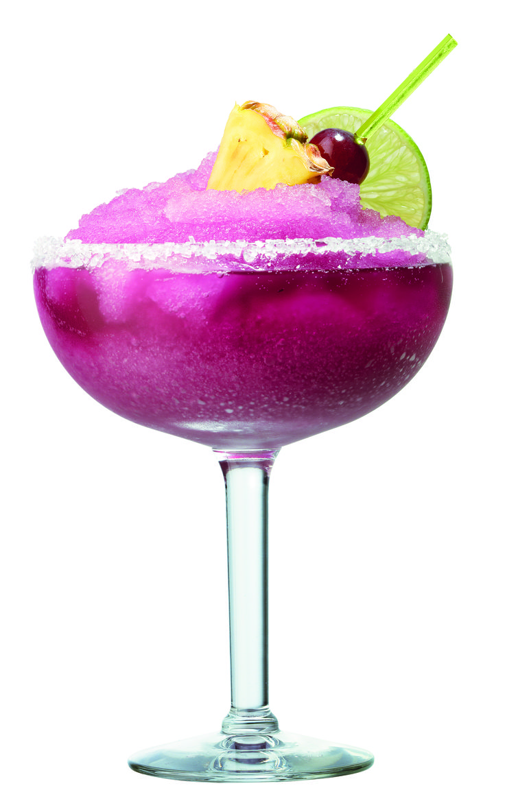 Blend 3 ounces Barefoot Red Moscato, heavy pineapple syrup, tequila and ice in blender until smooth. Pour into margarita glass. Float 1/2 to 3/4 ounce Barefoot Red Moscato on top. Garnish with pick of alternating pineapple and red grapes.