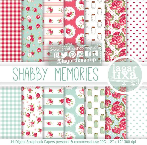 Shabby Chic Patterns Digital Paper English Roses  mint Vintage Mason Jar Pink Teal blue scrapbooking invitations blog background patterns