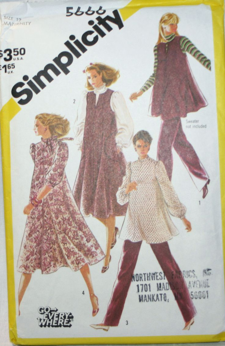 321 best maternity dresses images on pinterest modeling sew and simplicity 5666 misses maternity dress top and pants sewing pattern size 12 new uncut ombrellifo Images