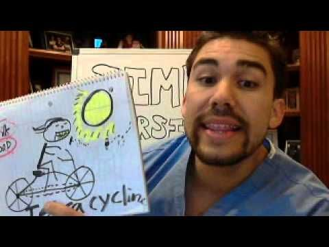 In this video, a cycler drawing is used to explain tetracycline. Mike Linares also introduces the famous TMS and TMF mnemonics for remembering the antinfectives classes associated with photosensitivity and those which must not be administered with meals. Citation: Simple Nursing. Tetracycline Anti-Biotic. Retrieved from https://www.youtube.com/watch?v=kdGOHG4dJ9A #Pharm #NursingPharmacology #SimpleNursing #mnemonics #antibiotics #Murse