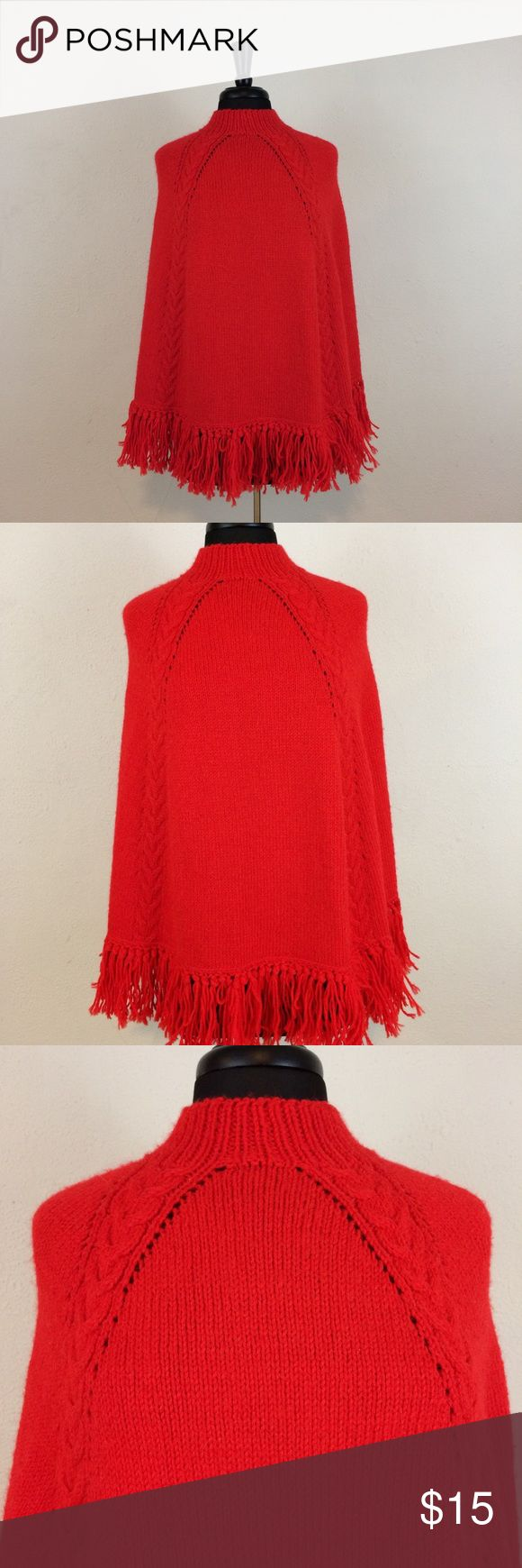 Vintage Candy Apple Red Knit Poncho Revisit the 1970s in this warm poncho with mock turtleneck. Sweaters Shrugs & Ponchos