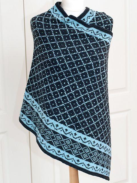 Free knitting pattern Enya - Fair Isle Shawl pattern by Rita Maassen and more colorful shawl knitting patterns