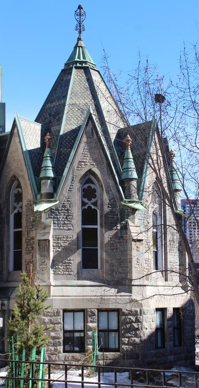 Morrice Hall at McGill University, now home to Institute of Islamic Studies Library. Slate Roof.