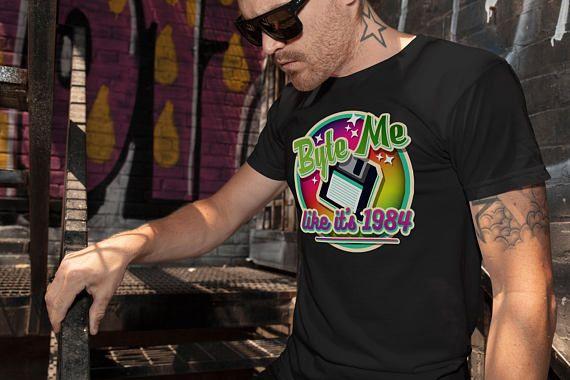 Funny Computer T-Shirt - Byte Me Like It's 1984 Black T-Shirt Geek Retro Computer Mens Tee shirt