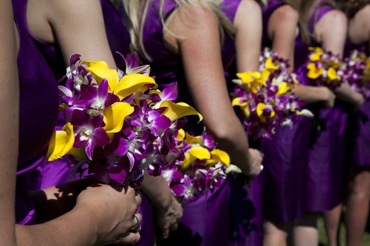 Purple & Yellow bridesmaid bouquets