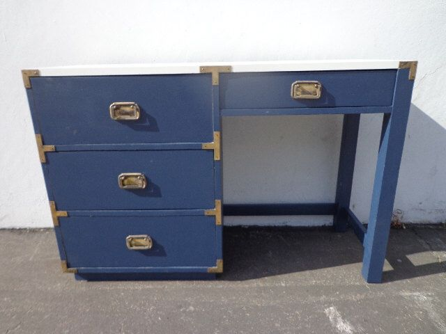 Vintage Campaign Desk Vanity Mid Century Boho Chic Writing Dresser Chest MCM Asian Chinoiserie Brass Storage Console CUSTOM PAINT Available by DejaVuDecors on Etsy https://www.etsy.com/listing/384878380/vintage-campaign-desk-vanity-mid-century