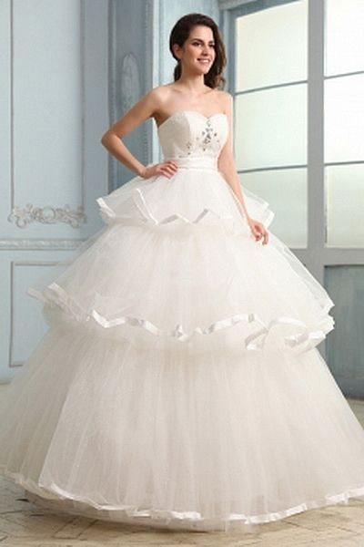 Sweetheart Ball Gown Tulle Wedding Dresses wr0694 - http://www.weddingrobe.co.uk/sweetheart-ball-gown-tulle-wedding-dresses-wr0694.html - NECKLINE: Sweetheart. FABRIC: Tulle. SLEEVE: Sleeveless. COLOR: Ivory. SILHOUETTE: Ball Gown. - 144.59