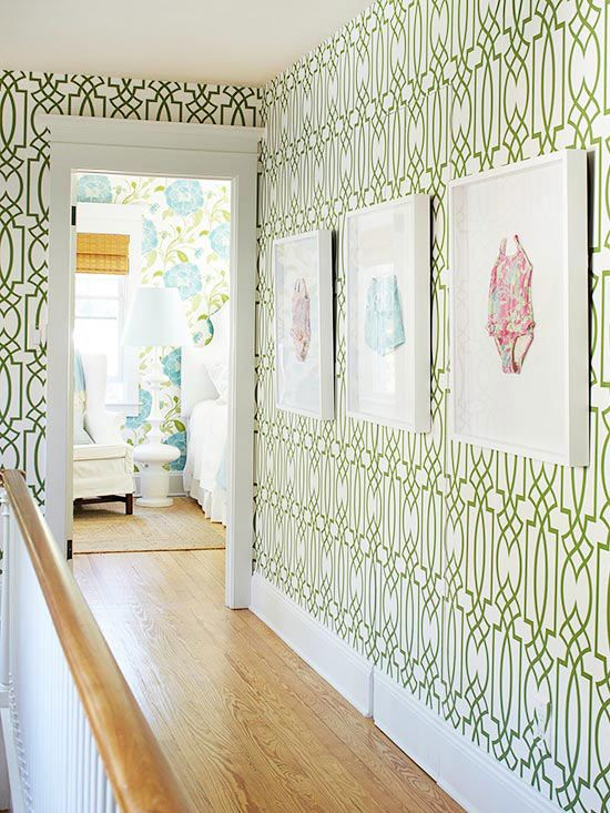 I love this wallpaper and the framed baby bathing suits!