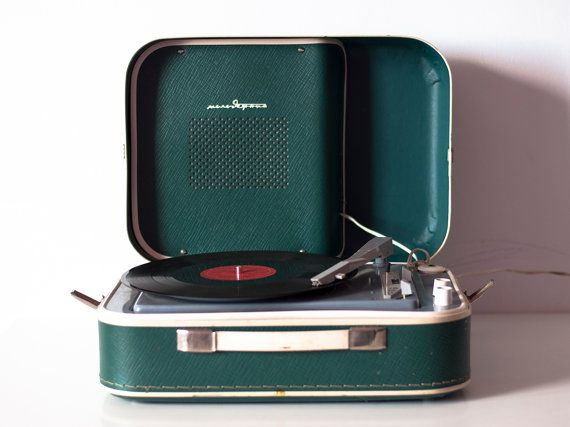 really thinking we need a record player around here......Turntable Record player Gramophone portable record player working 3 speed rare vintage record player teal player Retro made in 60s - Working...
