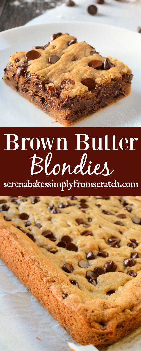 Brown Butter Blondies the perfect combination of a soft chewy brown butter chocolate chip cookie with crispy edges. serenabakessimplyfromscratch.com