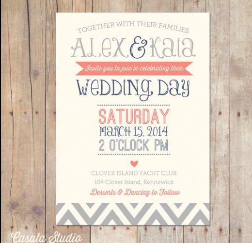 24 best Wedding Invites images on Pinterest Invites, Coral grey - best of wedding invitation design fonts