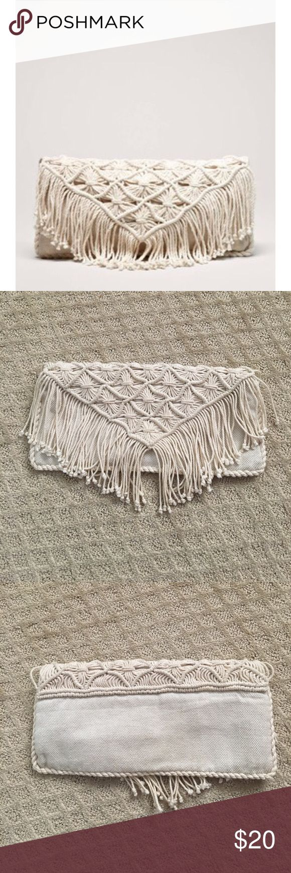 American Eagle Fringe Clutch American Eagle Fringe Clutch. So cute with jeans! Little stain on inside (pictured) American Eagle Outfitters Bags Clutches & Wristlets