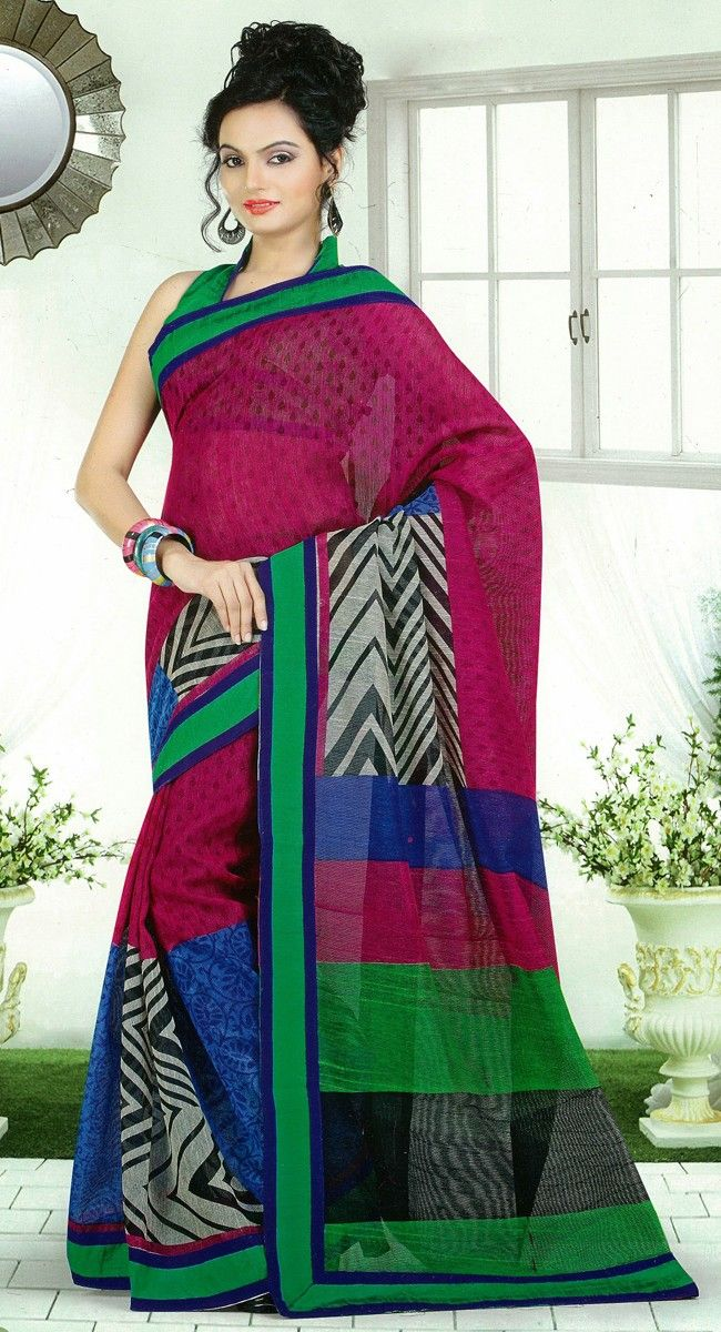 Black,Green and Red color Silk Sarees-Silk Printed #Saree