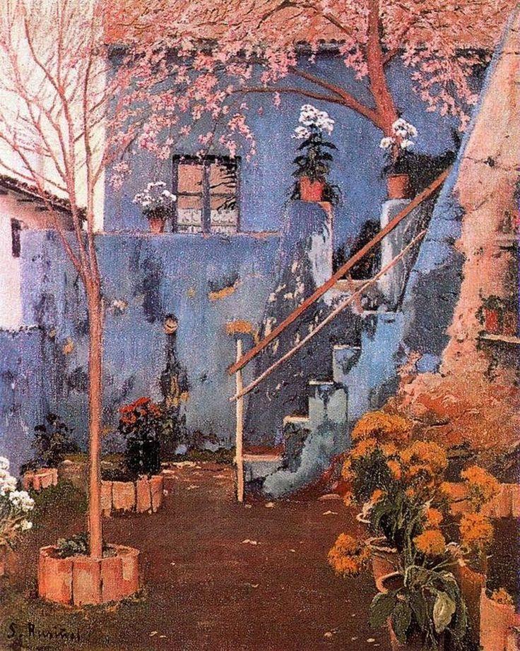 santiago Rusinol - Blue Patio in Sitges