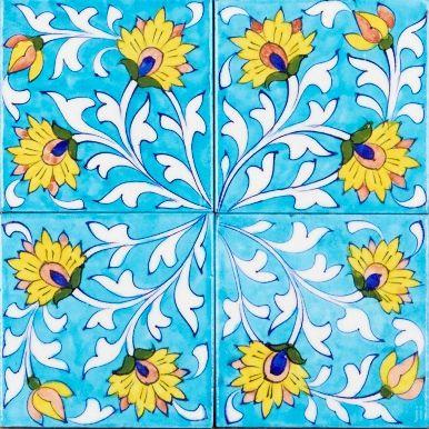 Yellow Daisy glazed tile
