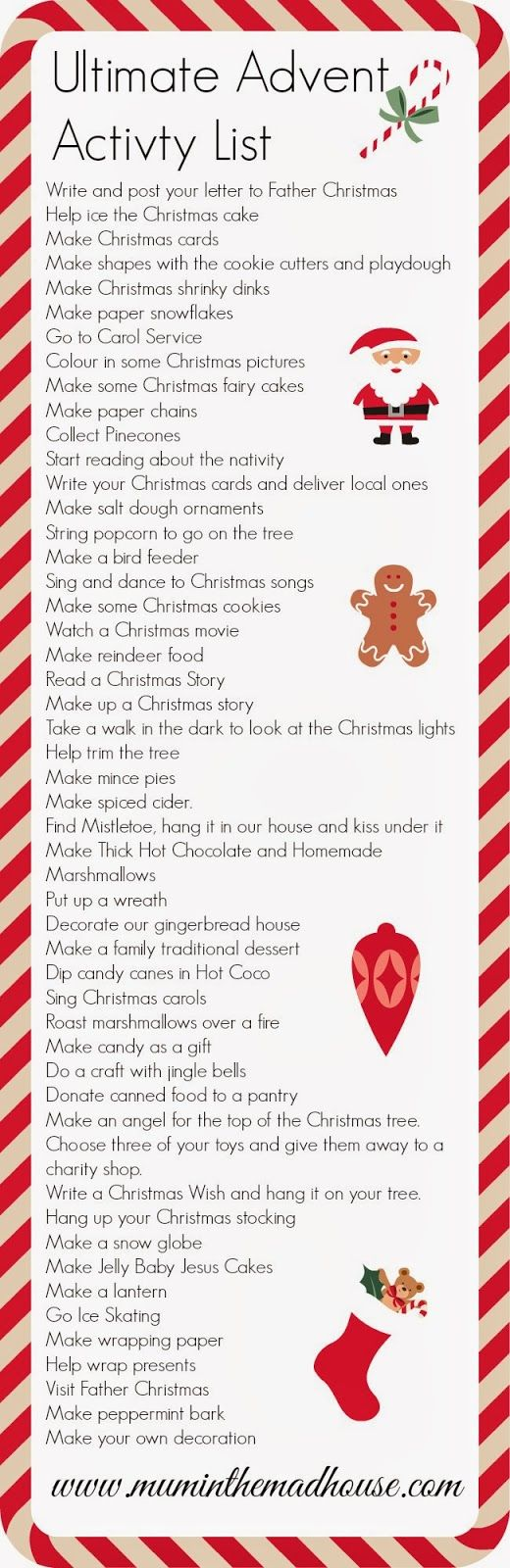 Activities for advent calendar