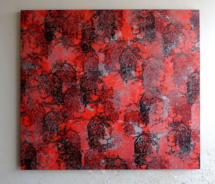Medusas , de Oscar Fortunato  1,73m de largura por 1,50m de altura  Serigrafia com diversos tipos de tintas e acrílica sobre tela