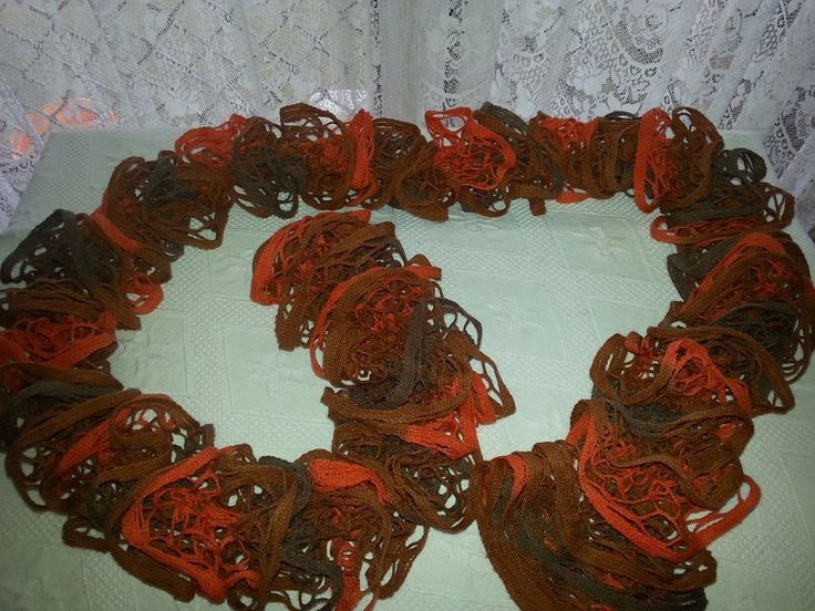 Brown and Orange Ruffle Scarf New Hand Knitted