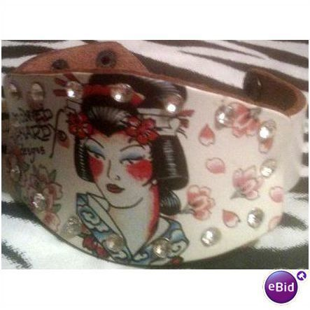 Signed Don Ed Hardy Designs Crystal Geisha White Leather Bracelet