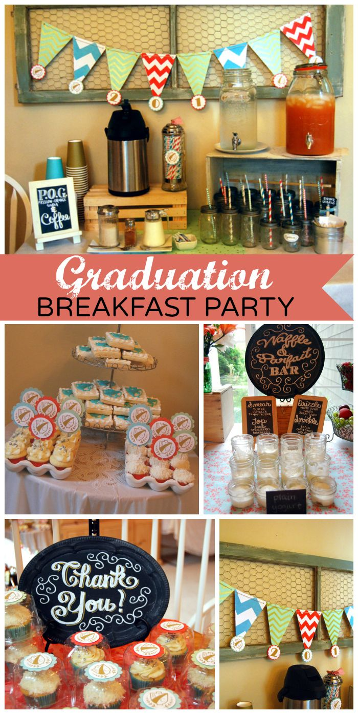 a delicious breakfast bar is set up for a modern graduation along with a fun photo booth  see