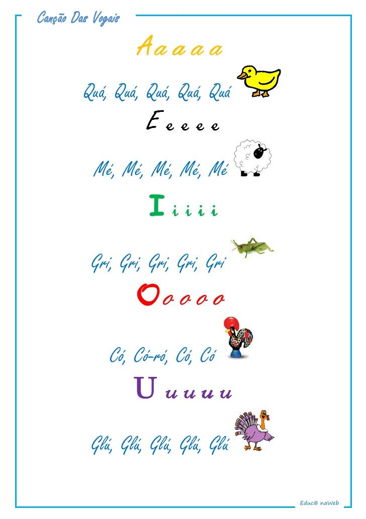 Cancao Das Vogais Com Imagens Letras De Musicas Infantis