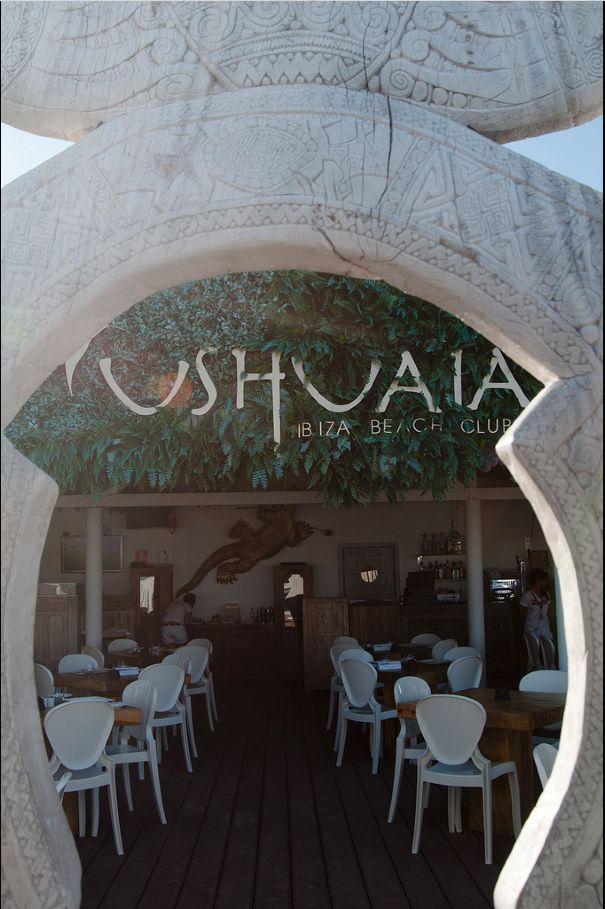 wood carved entrance to ushuaia ibiza beach club restaurant - Beach Style Restaurant 2016