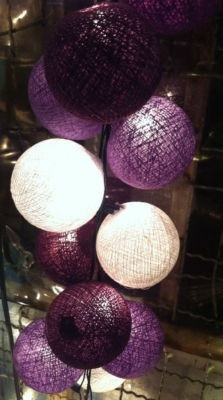 purple ball string lights DID YOU GET ANY CHINESE PAPER LANTERNS? KAREN SAID WE COULD USE THE WHITE FROM HER WEDDING IF YOU GET PURPLE