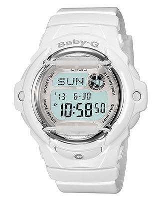 Baby-G Watch, Women's Digital White Resin Strap 46x43mm BG169R-7A - Women's Watches - Jewelry & Watches - Macy's