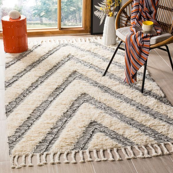 9 X12 Chevron Knotted Area Rug Black