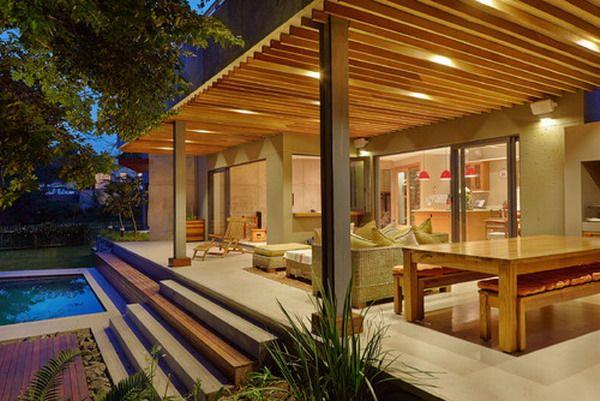 Überdachte Terrasse Moderne Terrasseneinrichtung