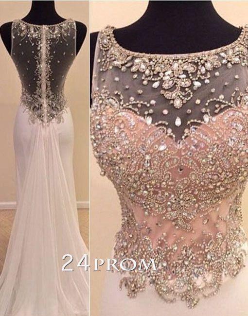 Charming round neckline A-line Chiffon Long Prom Dresses, Formal Dress – #prom #promdress #dress