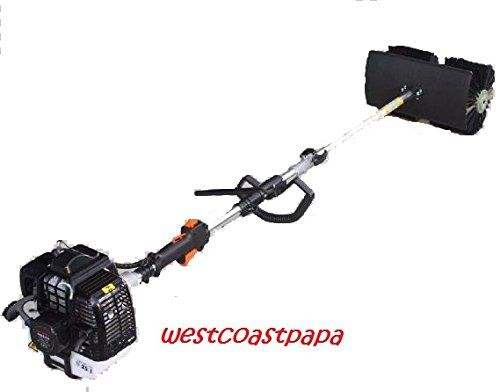 """HAND HELD WALK BEHIND SWEEPER BROOM CONCRETE DRIVEWAY CLEANING, 52cc GAS POWER > 14"""" wide hand held gas Nylon Brush Sweeping broom 2.3HP, 1700W, 52cc, 2 Stroke Air Cooled Motor EPA Engine 2 Cycle Oil /Gasoline Mixing Ratio:1:25 Displacement"""