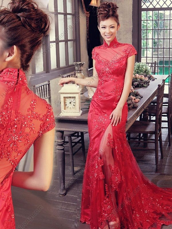 Lace Chiffon Split Front Cheongsam Sweep Sequined Embroidery Wedding Dress - USD $ 294.00