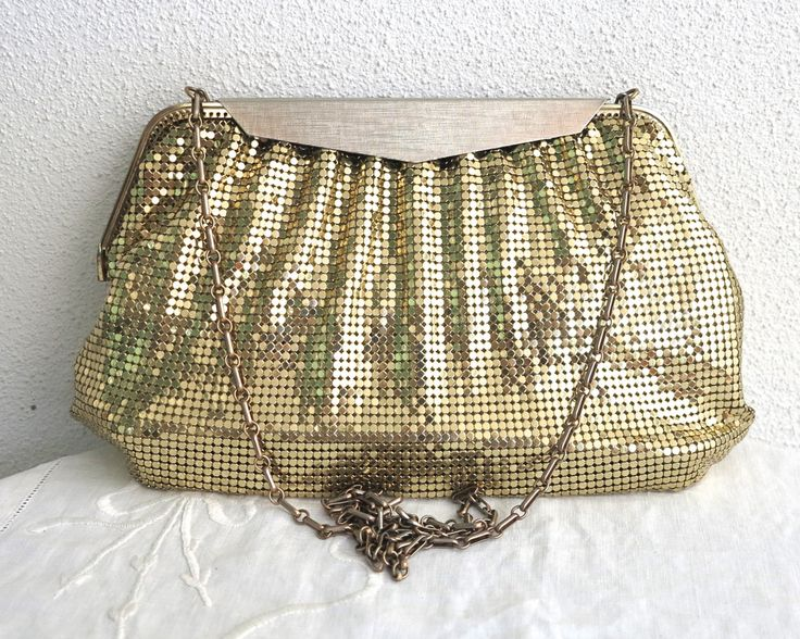 Vintage gold mesh handbag, Whiting and Davis, pewter colored textured fold over metal closure, long brass chain link handle, circa 1960s by CardCurios on Etsy
