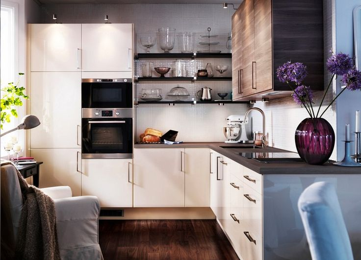 contemporary small apartment kitchen cabinet design