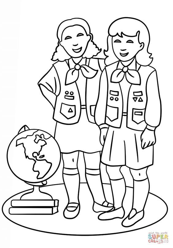 Brownie Girls Scout coloring page from Girl Scouts