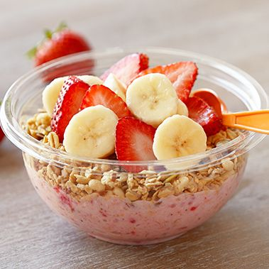 Chunky Strawberry Bowl™ Blend fresh Greek yogurt with strawberries, bananas, peanut butter and almond milk. Top with granola, fresh bananas and fresh strawberries