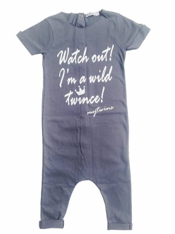 """Short sleeve bodysuit for boys with print """"Watch out, I'm a wild Twince"""". 100% cotton"""