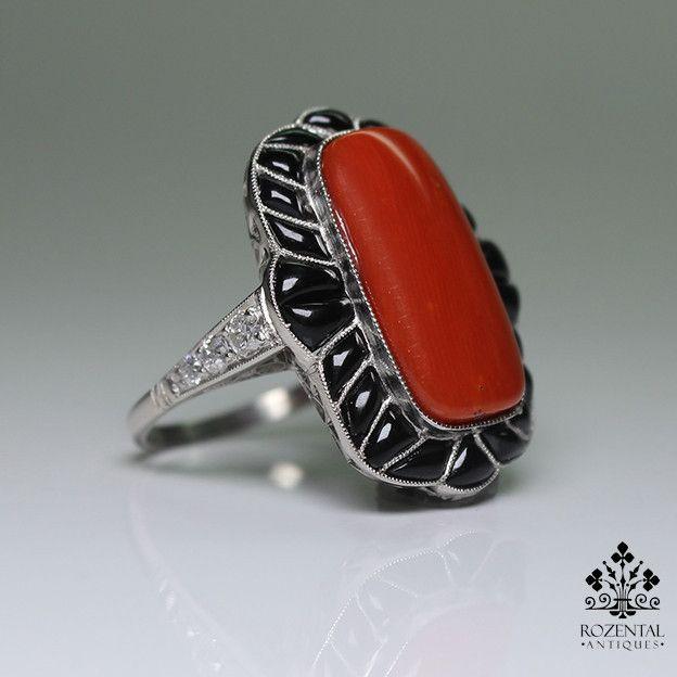 Antique Art Deco Platinum Coral, Diamond & Onyx Ring,  1920's
