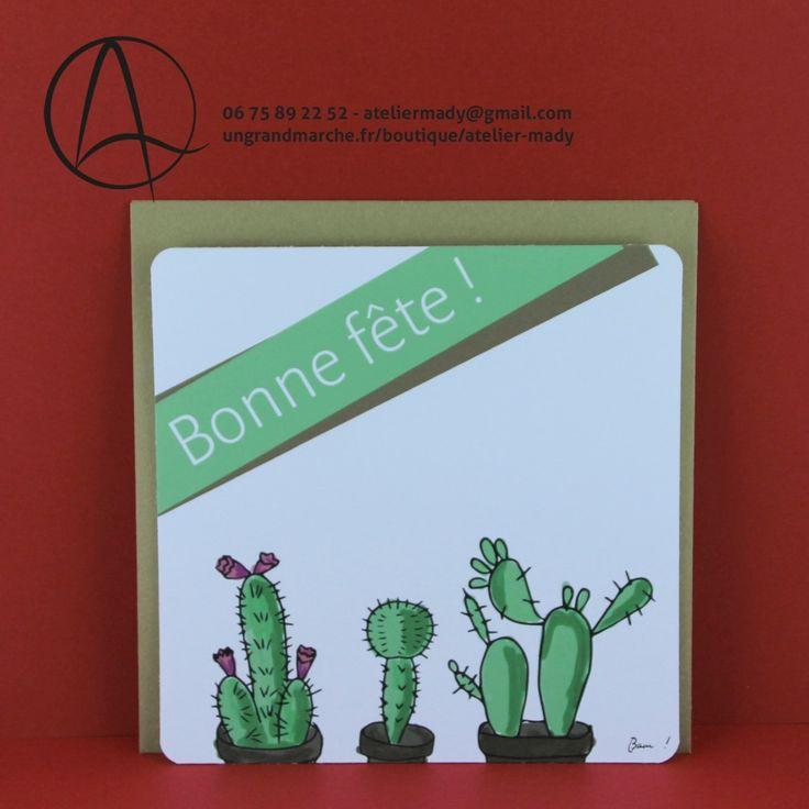 """Carte postale """"Cactus en fête"""" illustrée de cactus et du message """"bonne fête"""""""