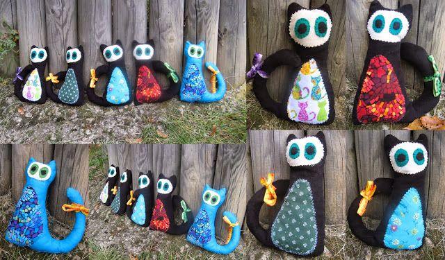 stuffed cats from designer fabrics